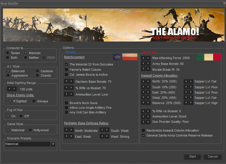 The Alamo! Victory or Death Options Screen