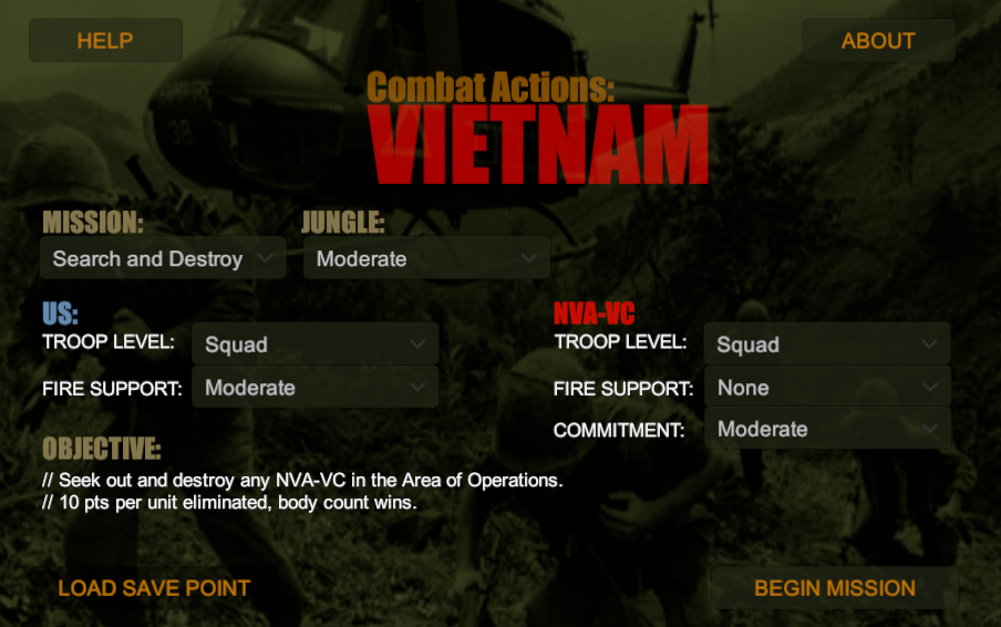Combat Actions: VIETNAM Options