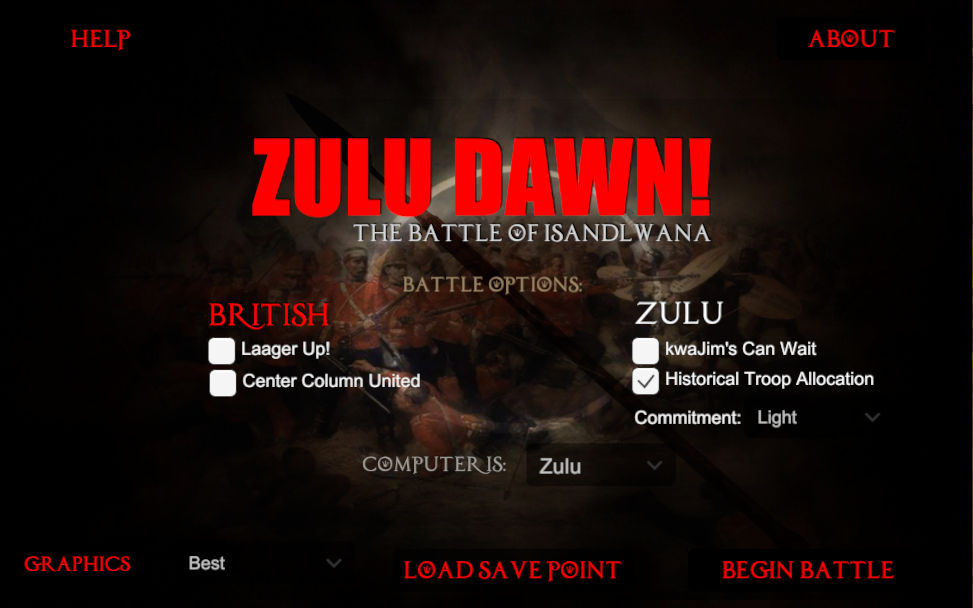 Zulu Dawn! Isandlwana Options